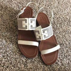 Tory Burch Stacked White Sandals
